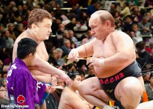 Vladimir Puting and Petro Poroshenko Sumo Wrestling